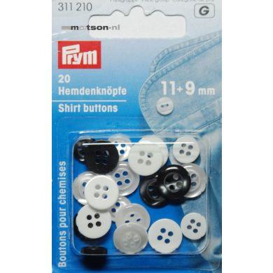 Knoopjes 9 + 11 mm wit en zwart 20 stuks, Prym
