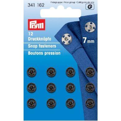 Drukkers 7 mm zwart, 12 stuks Prym