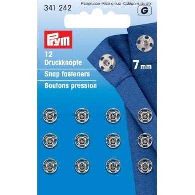Drukkers 7 mm zilver, 12 stuks Prym