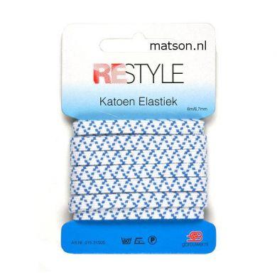 Sport elastiek 7 mm wit met blauwe zig zag, 6 meter
