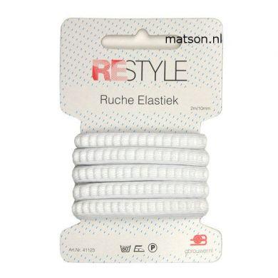 Ruche elastiek wit, 10 mm breed, 2 meter