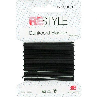 Dunkoord elastiek 1,4 mm zwart, 4 meter