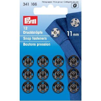 Drukkers 11 mm zwart, 12 stuks Prym