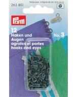 Haken en ogen middel zwart, 12 stuks Prym