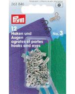 Haken en ogen middel zilver, 12 stuks Prym
